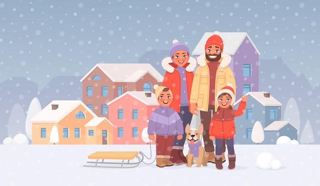 Gelukkige familie op een wandeling buiten in de winter tegen de achtergrond van het stadsbeeld. vrije tijd. in cartoon-stijl