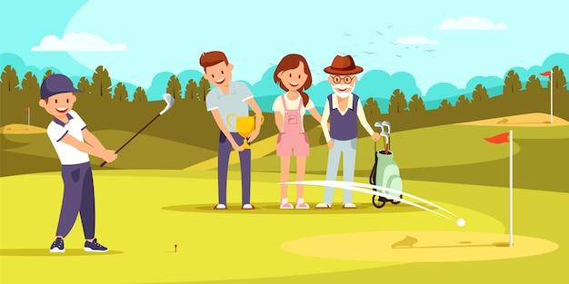 Gelukkige familie op golfveld ontspannen bij golfclub.