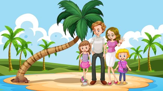 Gelukkige familie op het strand