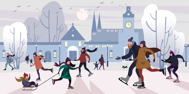 Gelukkige familie op piste buitenshuis in de winter downtown square. platte vectorillustratie