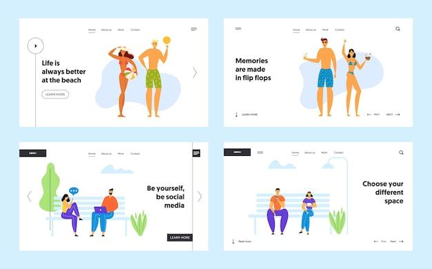 Gelukkige familie op strandfeest en sociale media-communicatie website bestemmingspagina-set