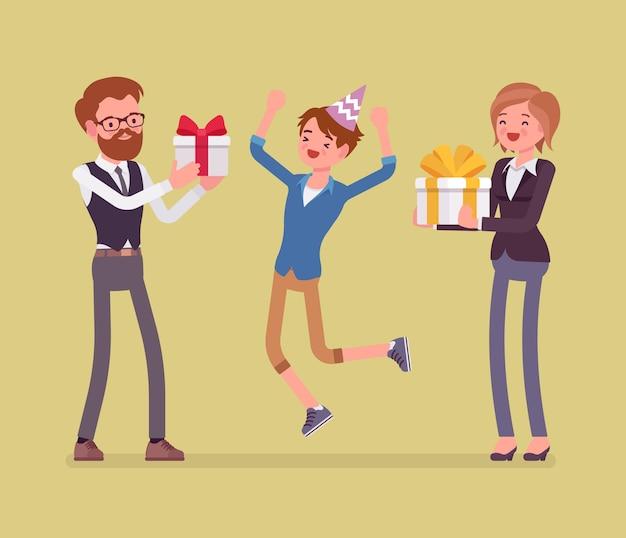 Gelukkige familie op verjaardagsfeestje. vrolijke ouders en zoon die plezier hebben op evenement, vader en moeder genieten samen van entertainment en geven doosgeschenken. stijl cartoon illustratie