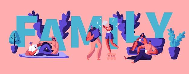 Gelukkige familie paar motivatie typografie poster. man en vrouw karakter spelen op groet banner. buiten picknick entertainment. weekend samen folder platte cartoon vectorillustratie
