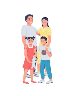 Gelukkige familie plat gedetailleerde karakters. lachende ouders met kinderen. moeder, vader met kinderen.