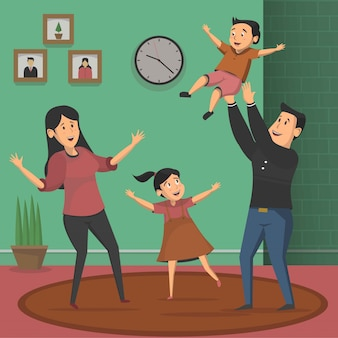 Gelukkige familie potrait concept vector