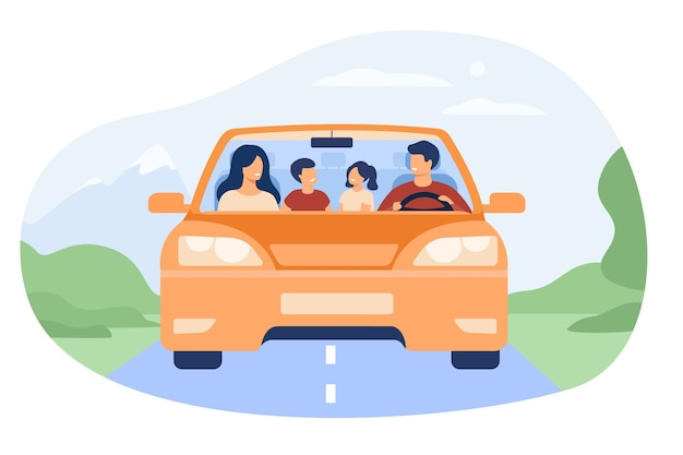 Gelukkige familie reizen in auto geïsoleerd platte vectorillustratie. vooraanzicht van cartoon vader, moeder, zoon en dochter in auto.