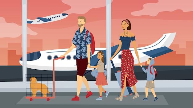 Gelukkige familie reizen samen. ouders met kinderen op de luchthaven klaar voor vakantie. vlakke stijl. vector illustratie.