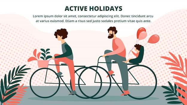 Gelukkige familie rijden fiets