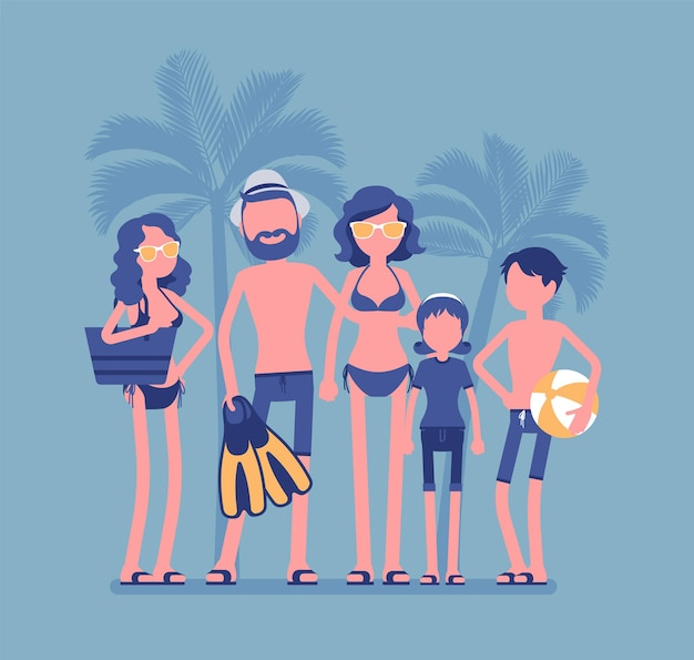 Gelukkige familie rust in het resort. ouders en kinderen in badkleding ontspannen op vakantie, groep toeristen in warme landreizen genieten van zwemmen, duiken en zonnebaden. vectorillustratie, gezichtsloze karakters