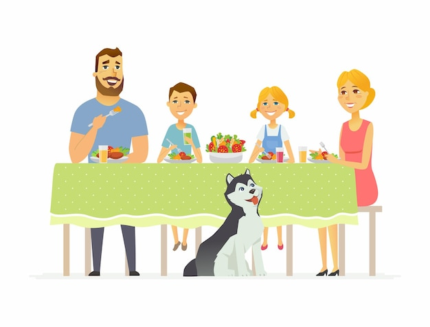 Gelukkige familie samen eten - moderne cartoon personen personages illustratie geïsoleerd op een witte achtergrond. moeder met twee kinderen en man aan tafel zitten, salade eten, gezond eten