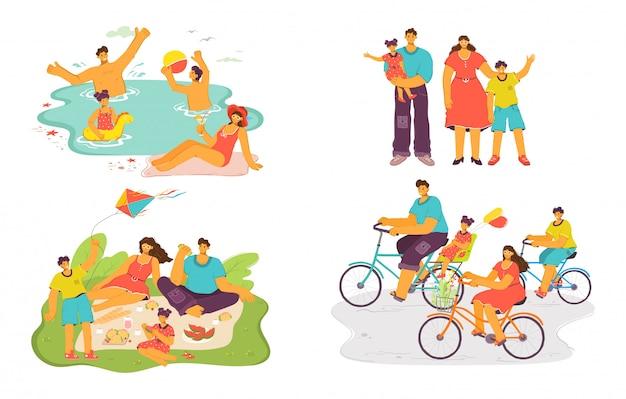 Gelukkige familie samen illustratie set, stripfiguur vader, moeder en kind veel plezier op picknick, fietsen of zwemmen