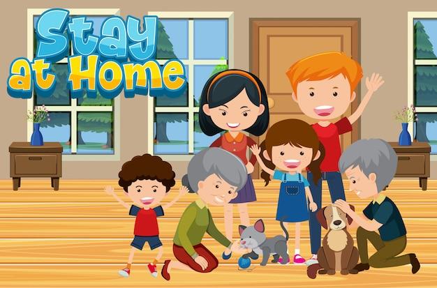 Gelukkige familie samen thuis blijven