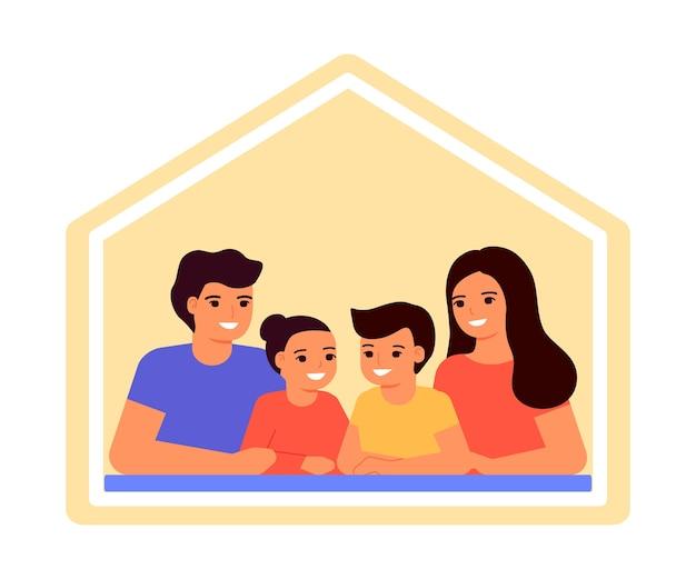 Gelukkige familie samen thuis