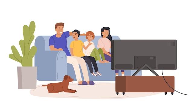 Gelukkige familie samen tv kijken platte vectorillustratie. lachende cartoon moeder, vader en kinderen ontspannen in een gezellige woonkamer. home entertainment concept geïsoleerd op een witte achtergrond.
