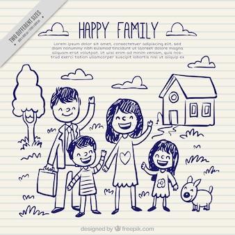 Gelukkige familie schetst achtergrond