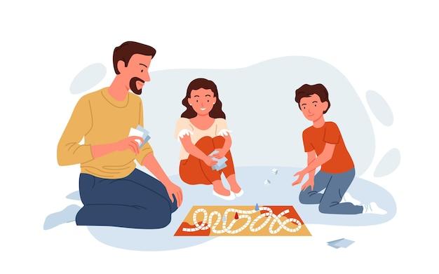 Gelukkige familie spelen bordspel met kaarten thuis vectorillustratie. vader ouder en jongen meisje