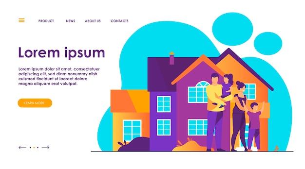 Gelukkige familie staan samen voor huis platte vectorillustratie. cartoon mensen poseren voor foto buiten. geluk en liefde concept.