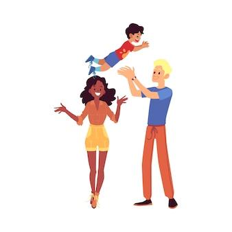 Gelukkige familie staat hun zoon cartoon-stijl op te gooien