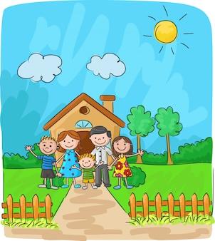 Gelukkige familie tegen een landschap en het huis