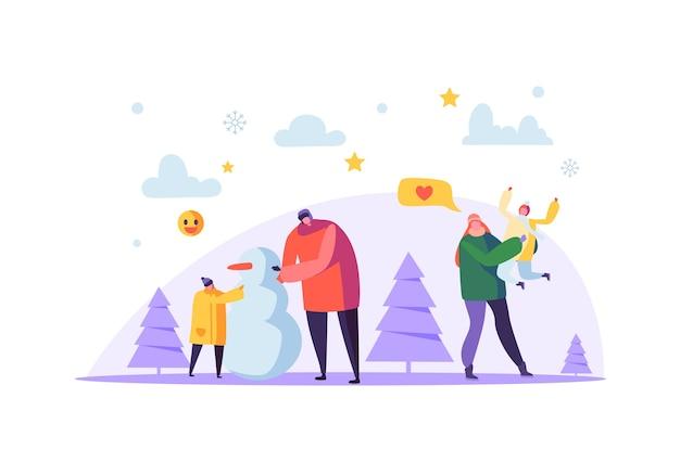 Gelukkige familie tekens sneeuwpop maken op wintervakantie. vrolijke moeder en vader met kinderen op kerstseizoen.
