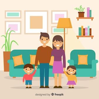 Gelukkige familie thuis met platte ontwerp