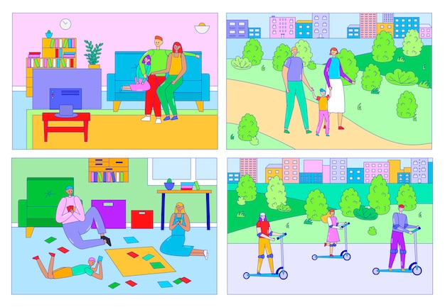 Gelukkige familie tijd samen doorbrengen, mensen vrije tijd thuis en buiten, ouders en kinderen illustratie