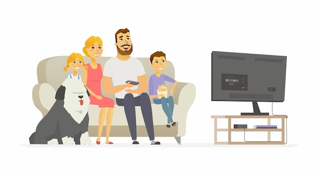 Gelukkige familie tv kijken - moderne cartoon personen personages illustratie geïsoleerd op een witte achtergrond. moeder met twee kinderen, echtgenoot, bobtailhond die samen op een bank zitten, plezier maken