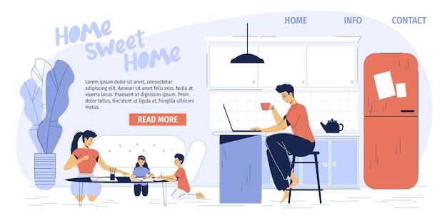 Gelukkige familie van freelancer ouders werken thuis kantoor appartement
