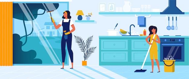 Gelukkige familie van moeder en dochter schoonmaak thuis