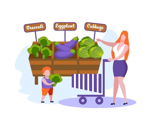 Gelukkige familie van moeder en zoontje winkelen