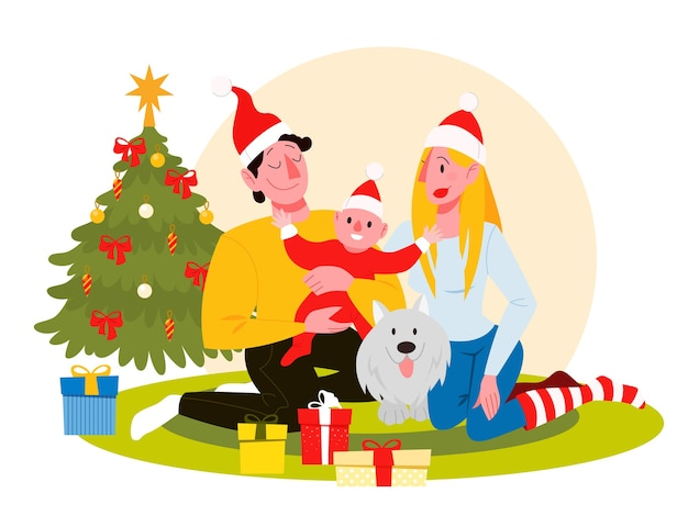 Gelukkige familie veel plezier op de kerstviering. huisfeest. nieuwjaar vieren. illustratie in cartoon-stijl