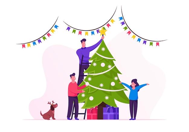 Gelukkige familie versieren kerstboom. cartoon vlakke afbeelding