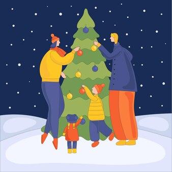 Gelukkige familie versieren kerstboom met ballonnen een bijeenkomst van ouders en kinderen