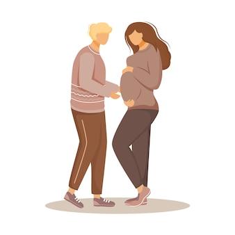 Gelukkige familie verwacht van baby vlakke afbeelding. verliefde paar in ouderlijke zorgen. guy het verzorgen van zwangere meisje geïsoleerde stripfiguren op een witte achtergrond