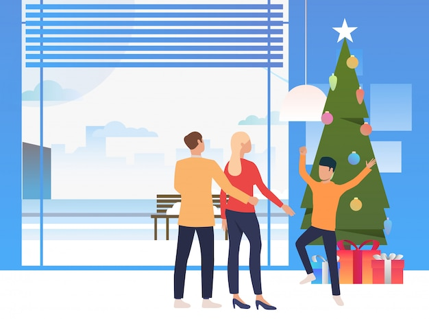 Gelukkige familie vieren kerstmis