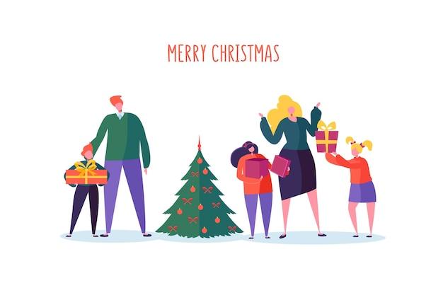 Gelukkige familie vieren wintervakantie met kerstboom en geschenken