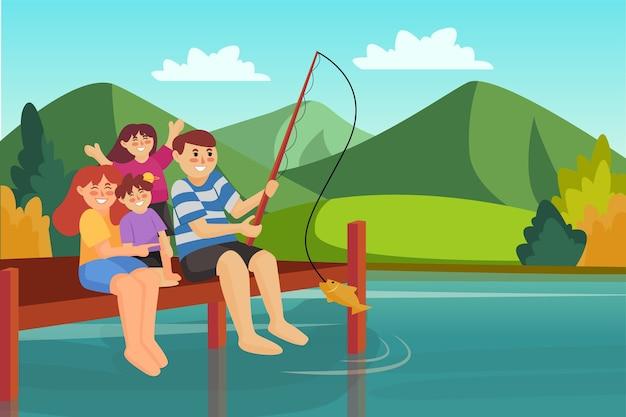Gelukkige familie vissen illustratie van moeder, vader en dochter op weekendvakantie