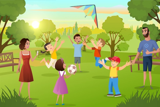Gelukkige familie vrije tijd in city park cartoon vector
