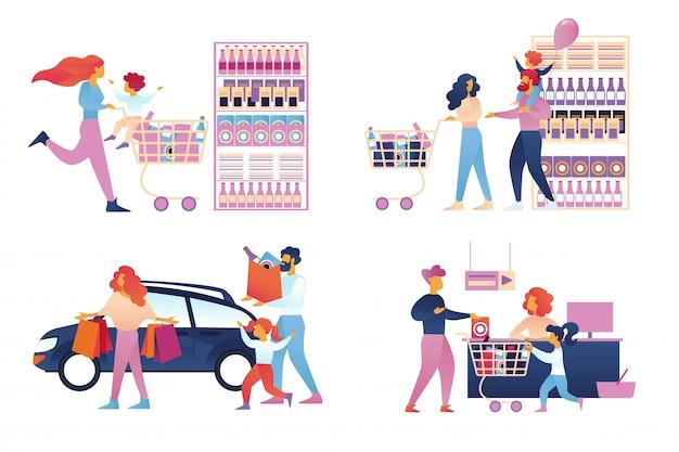 Gelukkige familie winkelen instellen geïsoleerd. supermarkt