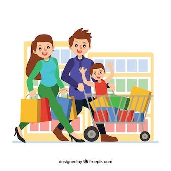 Gelukkige familie winkelen met platte ontwerp