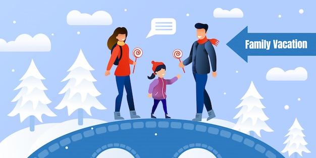 Gelukkige familie winteractiviteiten uitnodiging poster