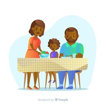 Gelukkige familie zitten aan de tafel, characterdesign