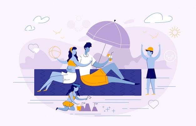 Gelukkige familie zomer vakantie vrije tijd zomer