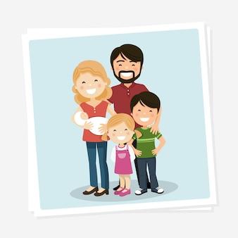 Gelukkige familiefoto met ouders, kinderen en babyborn