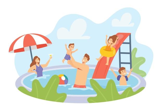 Gelukkige familiekarakters die rust in zwembad hebben. moeder, vader en kinderen zwemmen en genieten van recreatie in het hotel