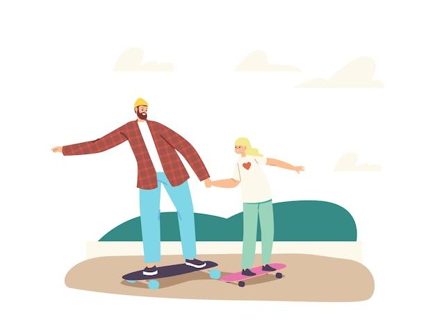 Gelukkige familiekarakters die skateboard berijden bij stadspark. jonge vader en dochtertje skateboarden hobby, sportactiviteit, gezonde levensstijl, weekendrecreatie. cartoon mensen vectorillustratie
