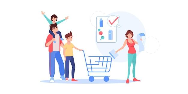 Gelukkige familiekarakters kopen goederen
