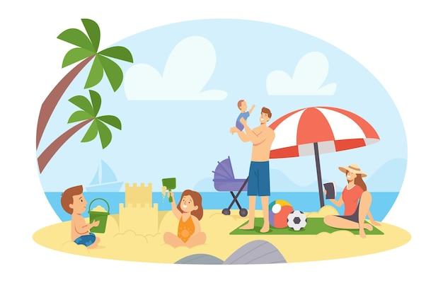 Gelukkige familiekarakters op summer beach. moeder, vader, dochter en zoon bouwen zandkasteel en spelen aan zee