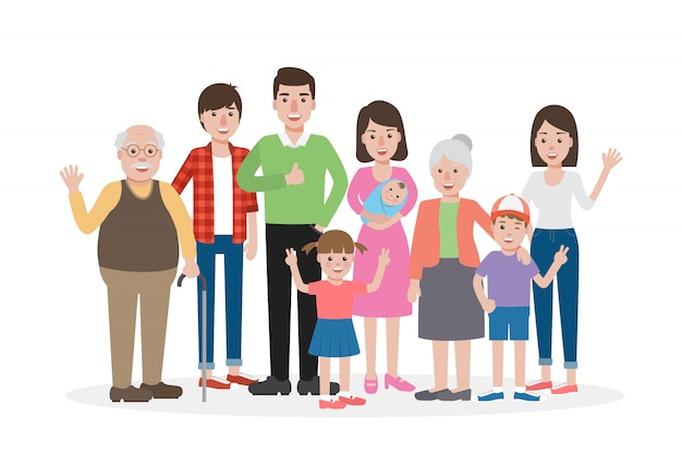 Gelukkige familieleden, opa, oma, moeder, vader, broers en zussen, glimlachend nemen familieportret. Premium Vector