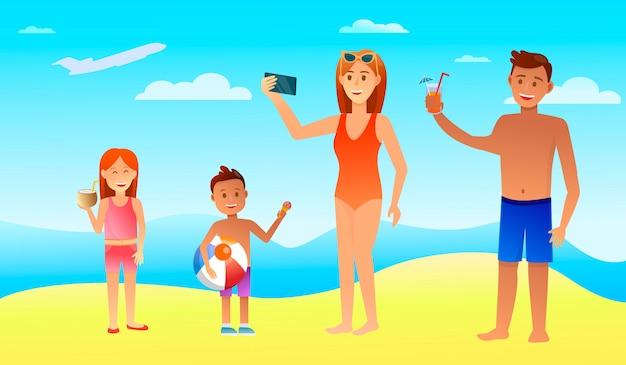 Gelukkige familievakantie met kinderen in het warme land.